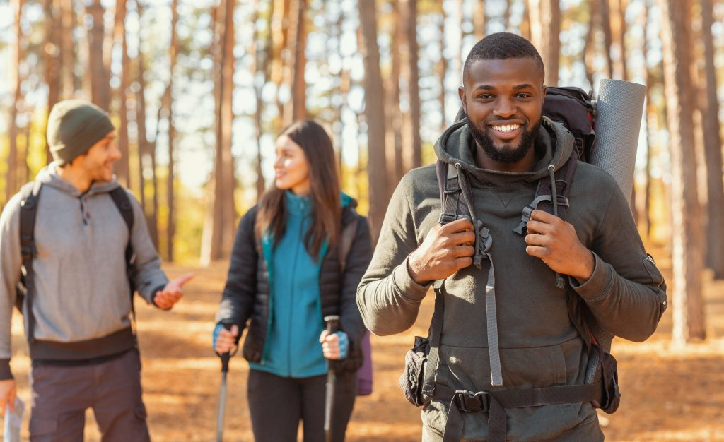 Students hiking in UK